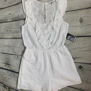 EXPRESS White Lacy Shorts Romper